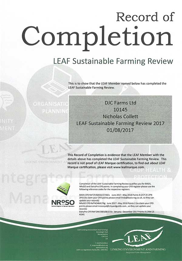 LEAF Farming Review Cert 2017